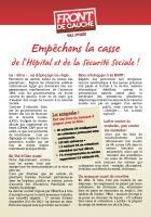 Dernier tract Front de Gauche Val d'Oise : hôpital et Sécurité sociale