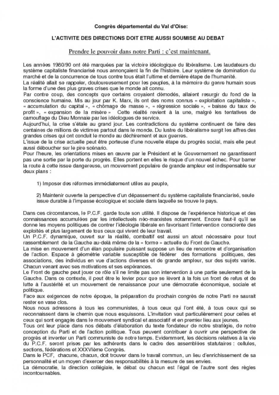 Contribution collective : L'ACTIVITE DES DIRECTIONS DOIT ETRE AUSSI SOUMISE AU DEBAT