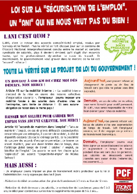 Tract du PCF 95 sur l'ANI et la loi de