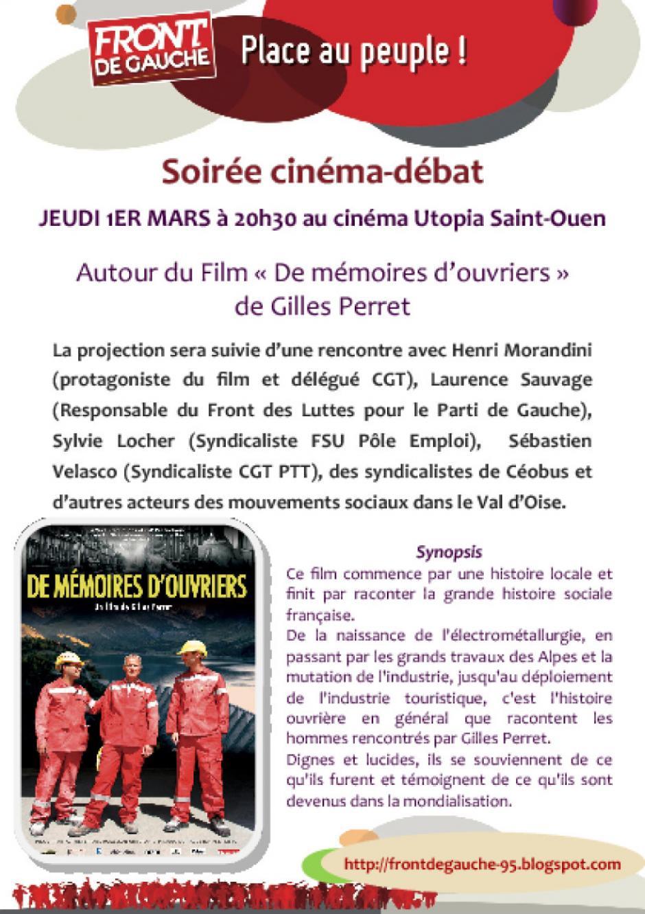 Soirée ciné-débat 1er mars cinéma Utopia Saint Ouen l'Aumône