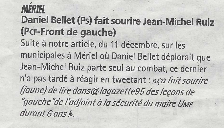 Mériel : Daniel Bellet (PS) fait sourire Jean-Michel Ruiz. La Gazette du 18 décembre 2013
