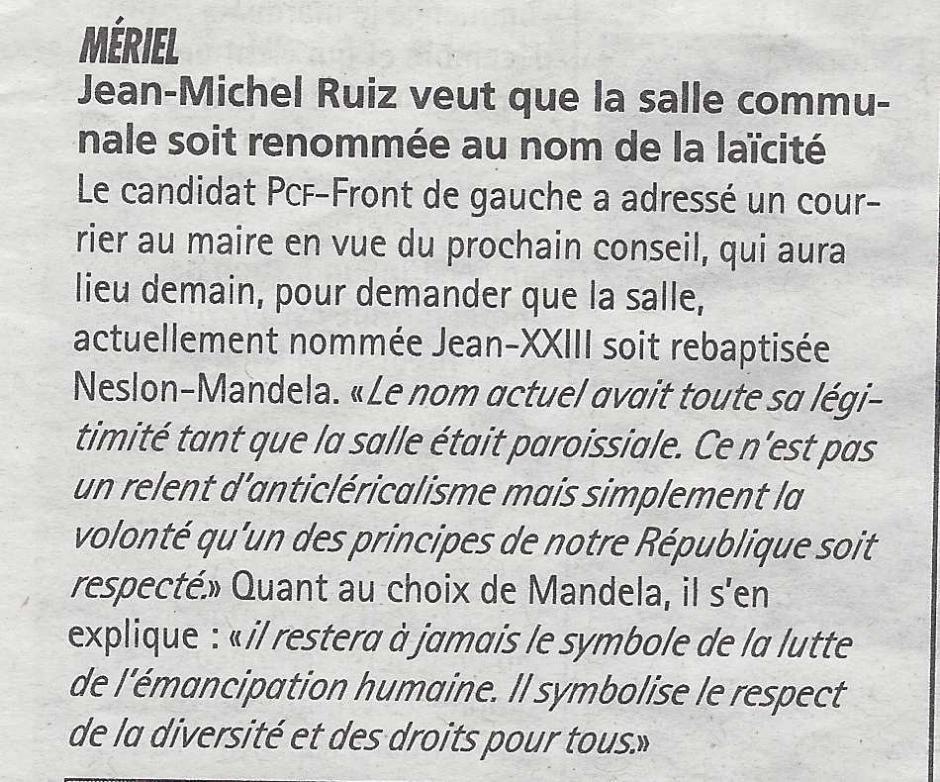 Mériel : Jean-Michel Ruiz veut que la salle communale soit renommée au nom de la laïcité. La Gazette du 18 décembre 2013