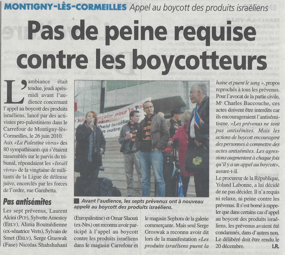 Appel au boycott des produits israéliens, pas de peine requise, la Gazette du 18 septembre