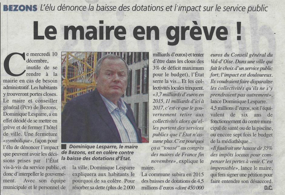 La Gazette du 10 décembre, Dominique Lesparre en grève