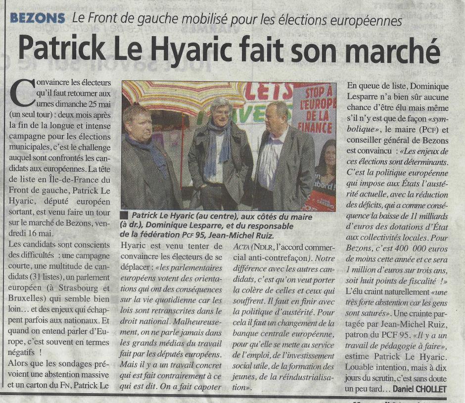 La Gazette du 21 mai, Patrick le Hyaric en campagne à Bezons