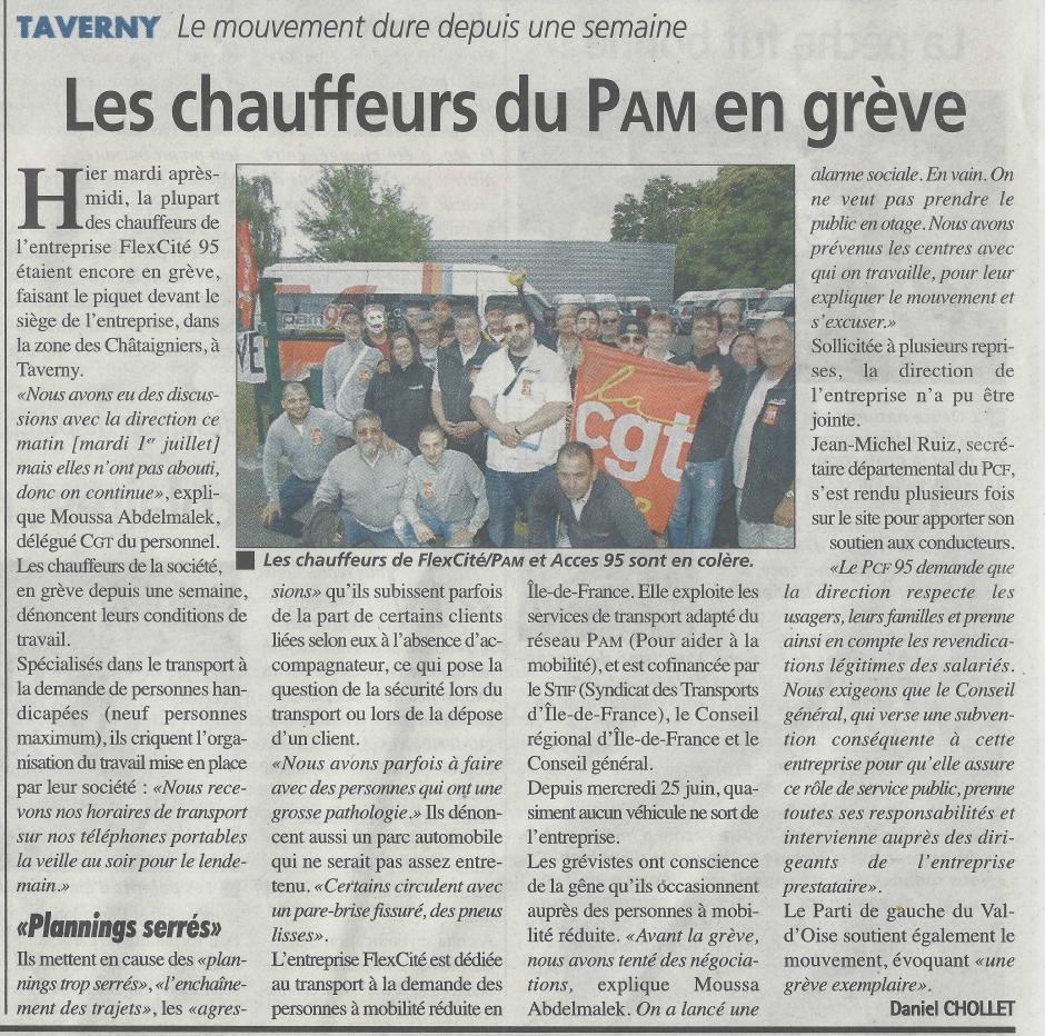 La Gazette du 2 juillet, les chauffeurs de la PAM95 en grève