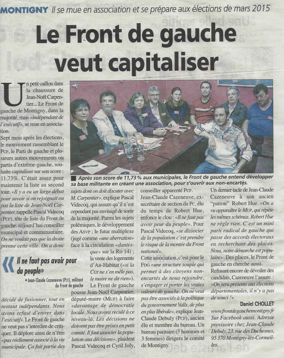 La Gazette du 5 novembre. Création d'un Front de gauche à Montigny