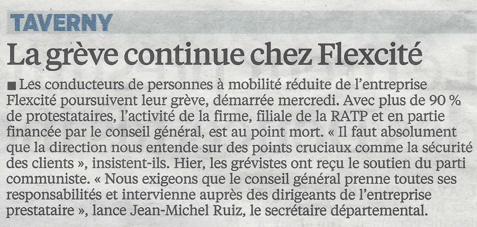 Le Parisien du 28 juin, grève à Flexcité