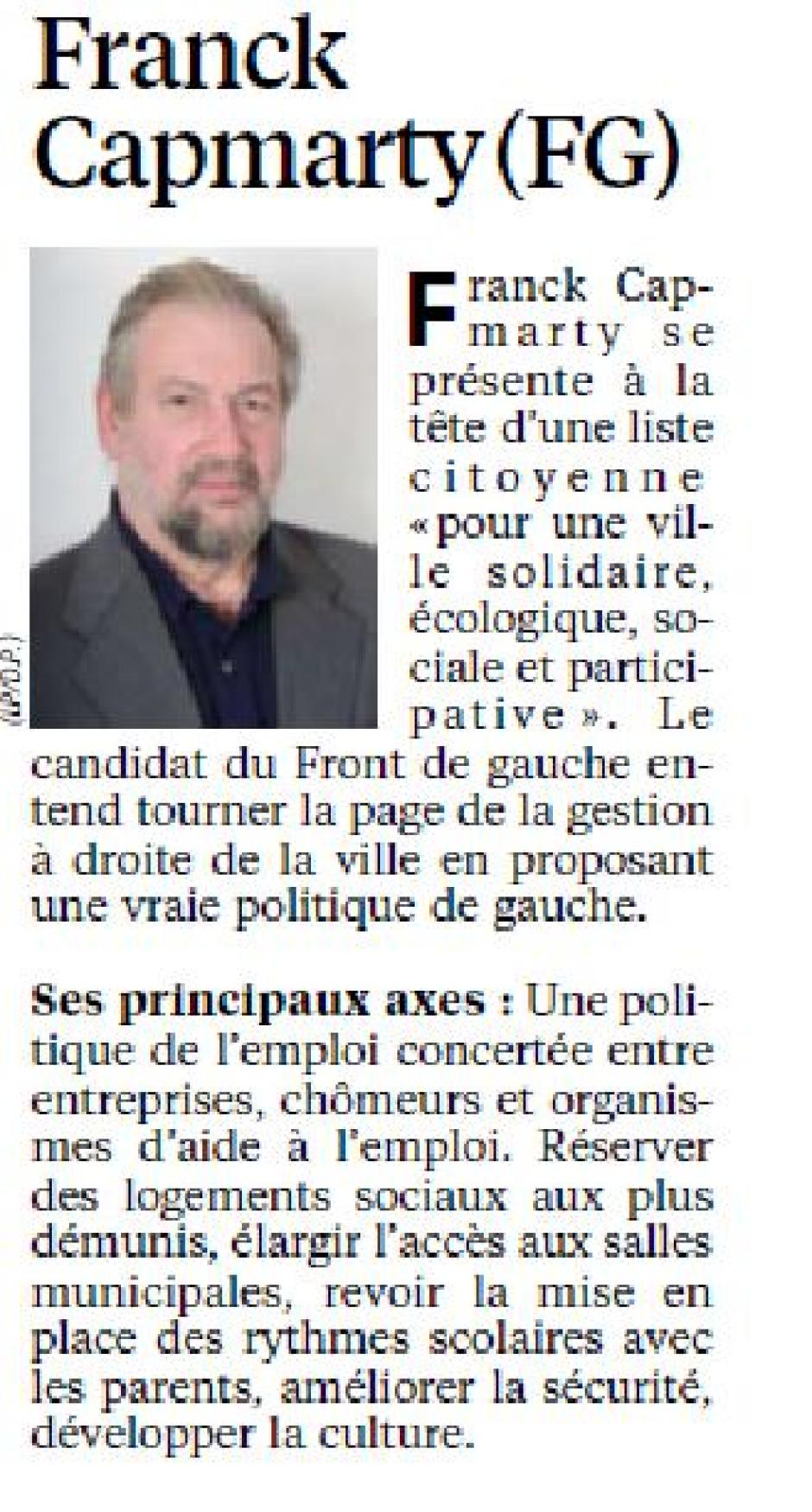 Le Parisien du 14 Février, Franck Capmarty en campagne à Montmagny