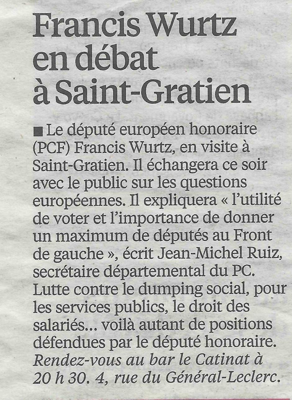 Le Parisien du 19 mai, réunion publique avec Francis Wurtz ce soir à St Gratien