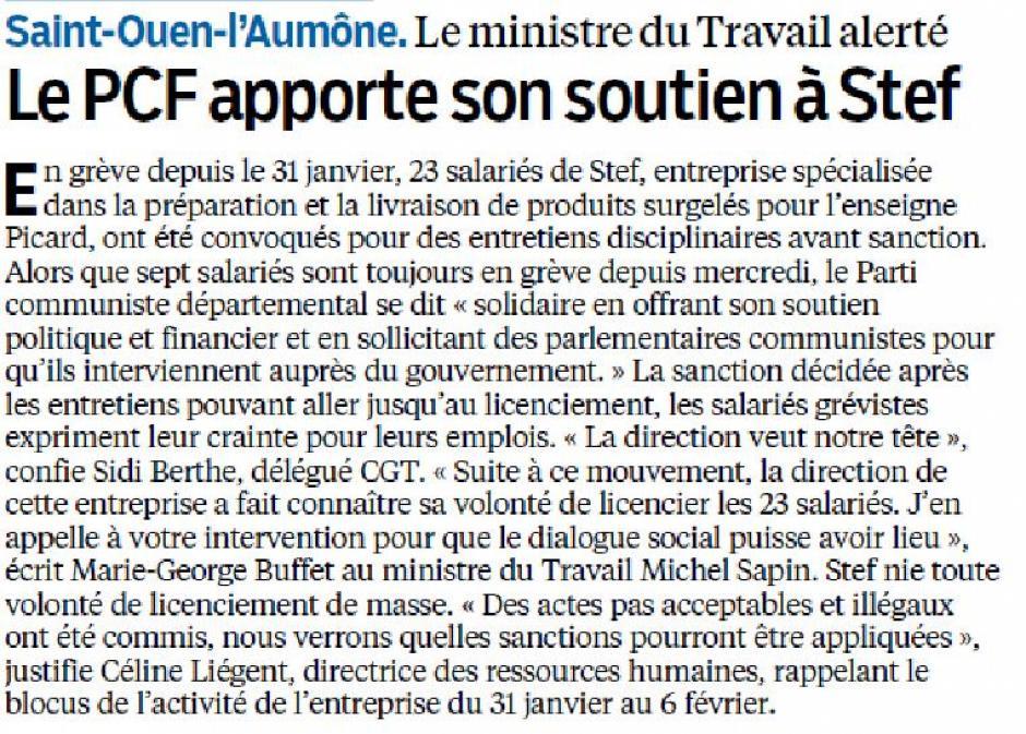 Le Parisien du 21 Février, le PCF soutient la STEF