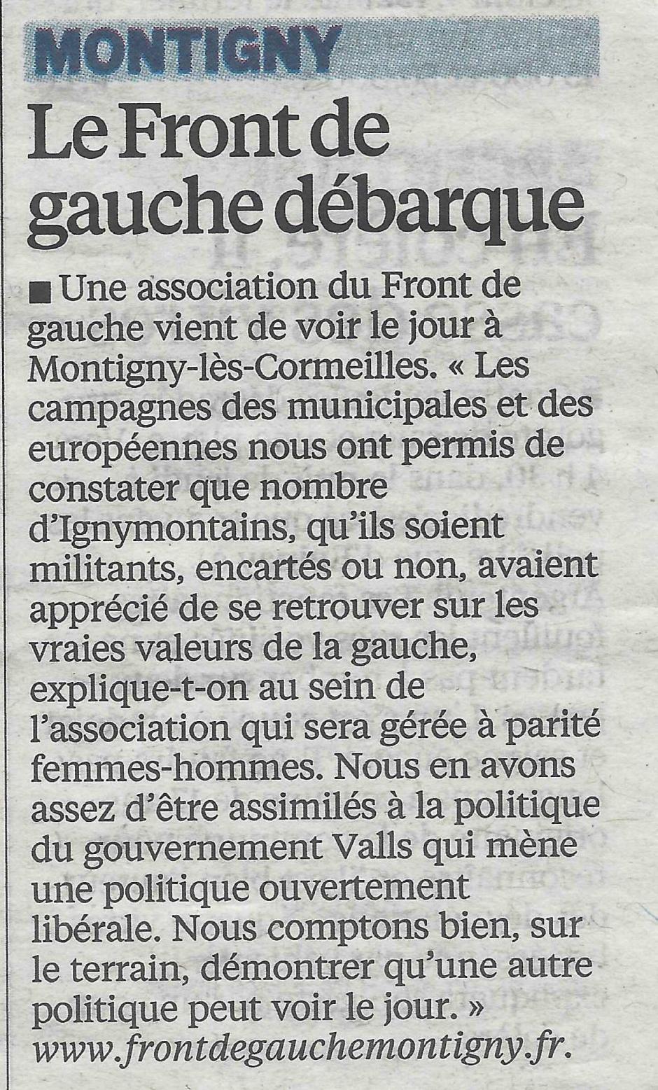Le Parisien du 31 octobre Création d'une association Front de gauche à Montigny