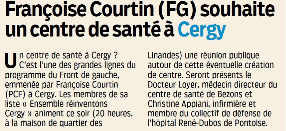 Le Parisien du 3 mars, Françoise Courtin souhaite un centre de santé à Cergy