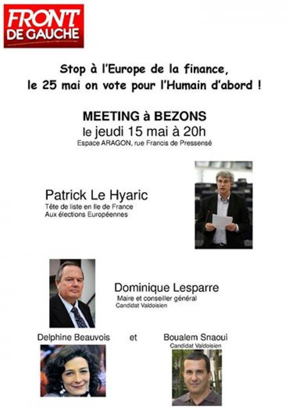 Meeting en présence de Patrick Le Hyaric jeudi 15 mai