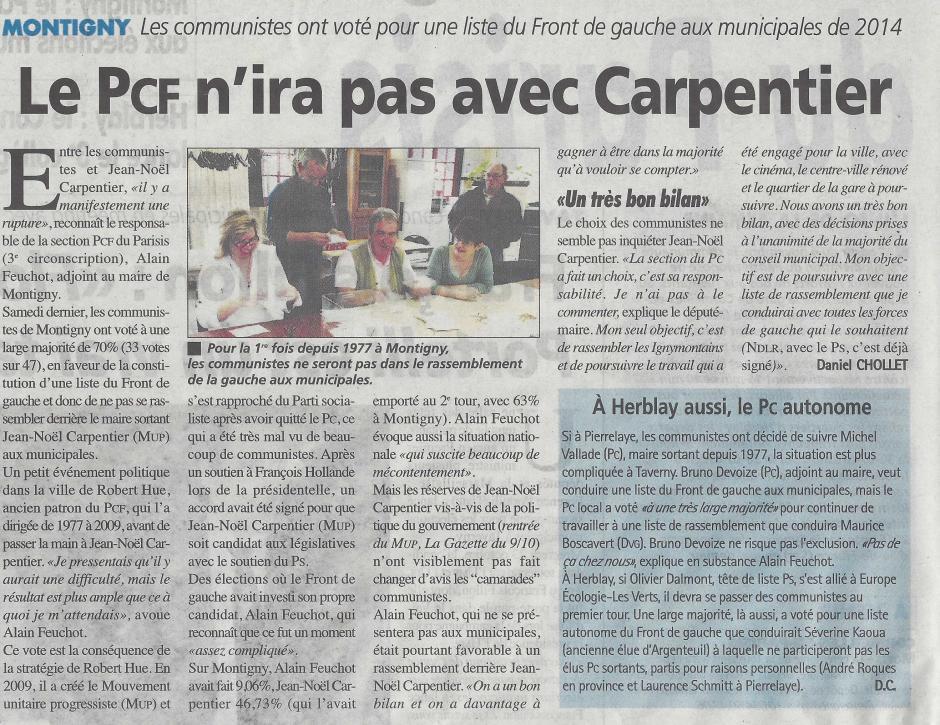 Municipales à Montigny, le PCF n'ira pas avec Carpentier, la Gazette du mercredi 30 octobre
