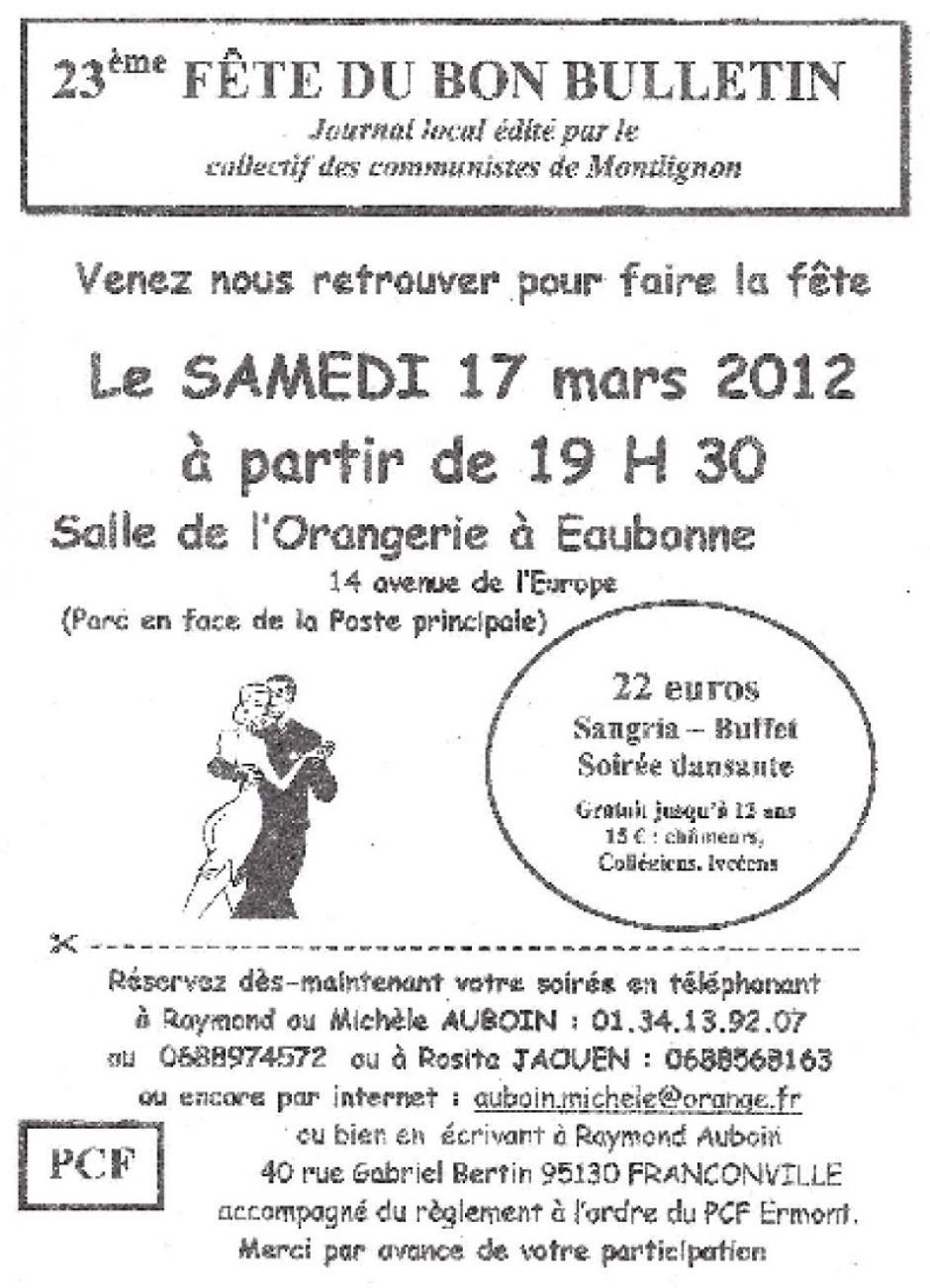 23ème fête du bon bulletin à Eaubonne le samedi 17 mars